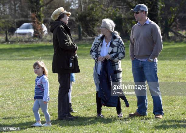 Princess Anne Princess Royal with her son Peter Phillips and granddaughter Mia Tindall during the Gatcombe Horse Trials at Gatcombe Park on March 25...