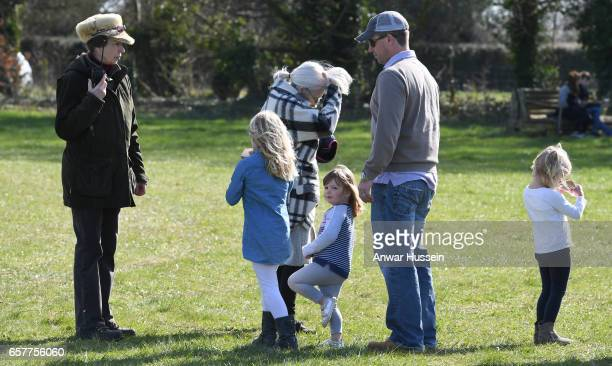 Princess Anne, Princess Royal with her son Peter Phillips and granddaughters Savannah Phillips, Mia Tindall and Isla Phillips during the Gatcombe...
