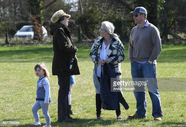 Princess Anne, Princess Royal with her son Peter Phillips and granddaughter Mia Tindall during the Gatcombe Horse Trials at Gatcombe Park on March...