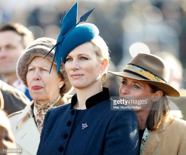 Princess Anne Princess Royal Zara Tindall and Dolly Maude attend day 1 'Champion Day' of the Cheltenham Festival at Cheltenham Racecourse on March 12...