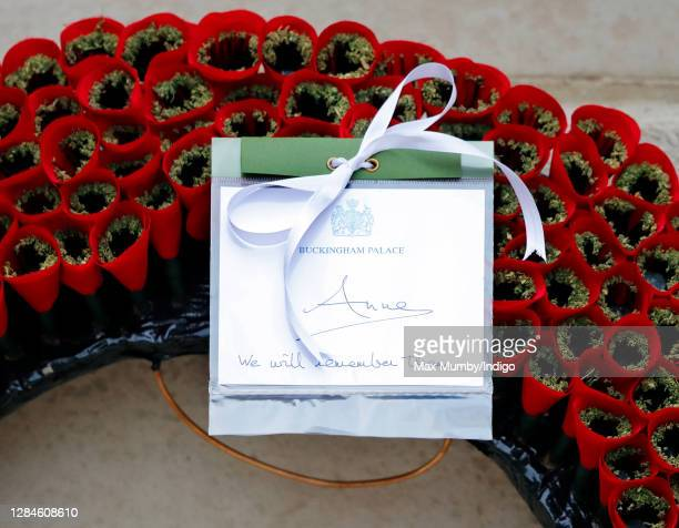 Princess Anne, Princess Royal's hand written message and poppy wreath which she laid during the National Service of Remembrance at The Cenotaph on...