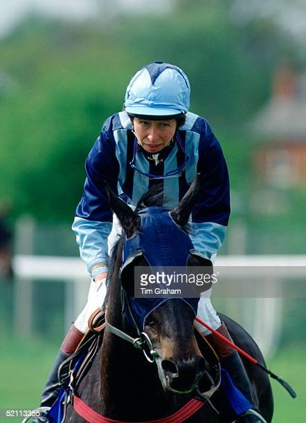 Princess Anne Riding As A Jockey At Charity Horseracing Meeting At Lingfield Park Her Horse Is 'bengal Tiger'