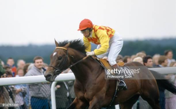 Princess Anne riding at Ascot Racecourse, circa 1987.