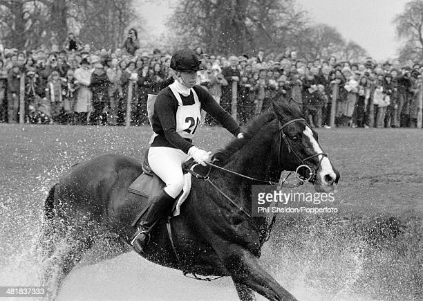 HRH Princess Anne riding her horse Goodwill through the water at the Badminton Horse Trials in Gloucestershire 21st April 1979