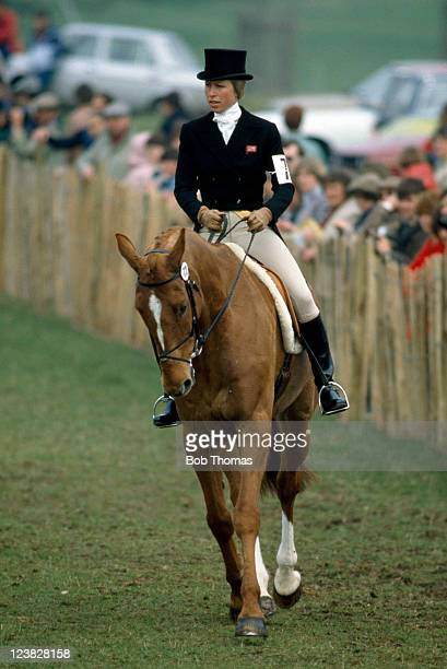 Princess Anne riding her horse Stevie B prior to the dressage element during the Badminton Horse Trials, circa May 1982.