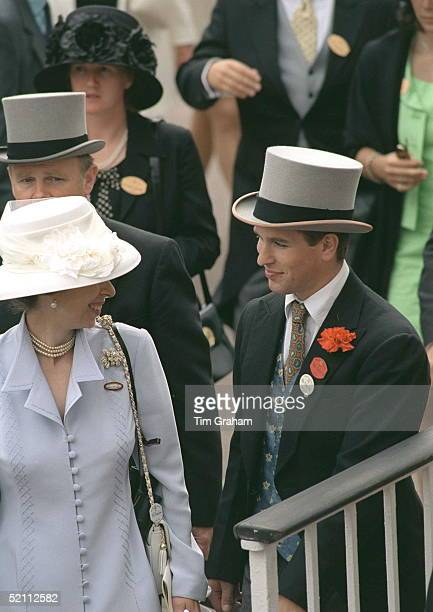Princess Anne shares a joke with her son Peter Phillips whilst attending Ladies Day at Ascot.
