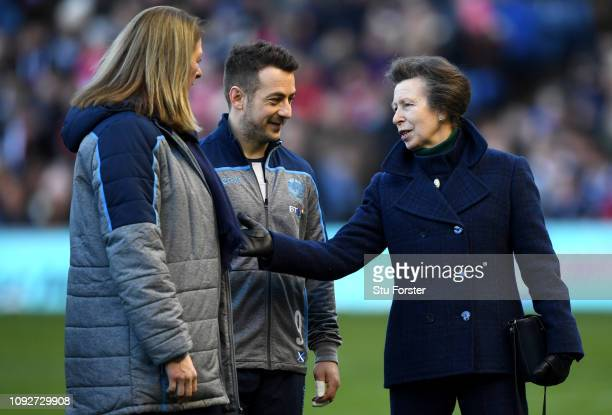 Princess Anne speaks to Greig Laidlaw of Scotland prior to the Guinness Six Nations match between Scotland and Italy at Murrayfield on February 2...