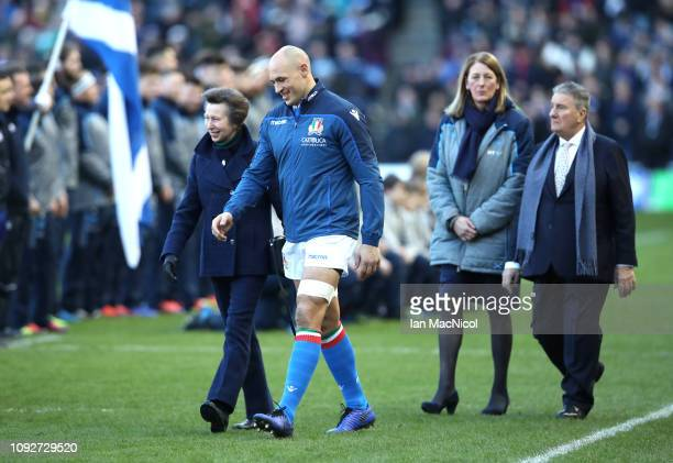 Princess Anne speaks to Sergio Parisse of Italy prior to the Guinness Six Nations match between Scotland and Italy at Murrayfield on February 2 2019...