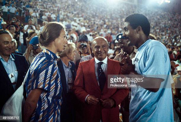 Princess Anne with Daley Thompson of Great Britain after he won the gold medal and sett a new world record in the decathlon during the Summer Olympic...