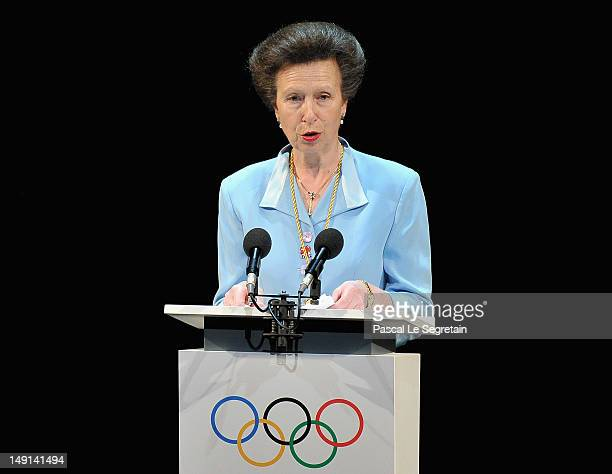 Princess Anne, the British Olympic Association President speaks on stage during the Opening Ceremony of the 124th IOC Session, prior to the start of...
