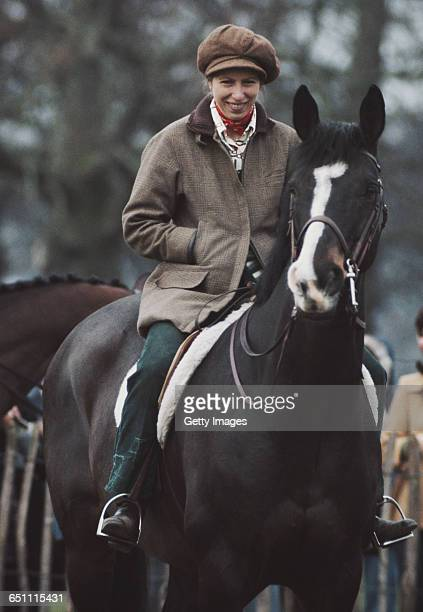 HRH Princess Anne The Princess Royal aboard her horse Goodwill during the Badminton Horse Trials on 15 April 1978 at Badminton Park...