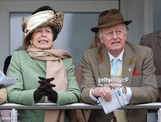 Princess Anne The Princess Royal and Andrew Parker Bowles watch the racing as they attend day 4 Gold Cup Day of the Cheltenham Festival on March 18...