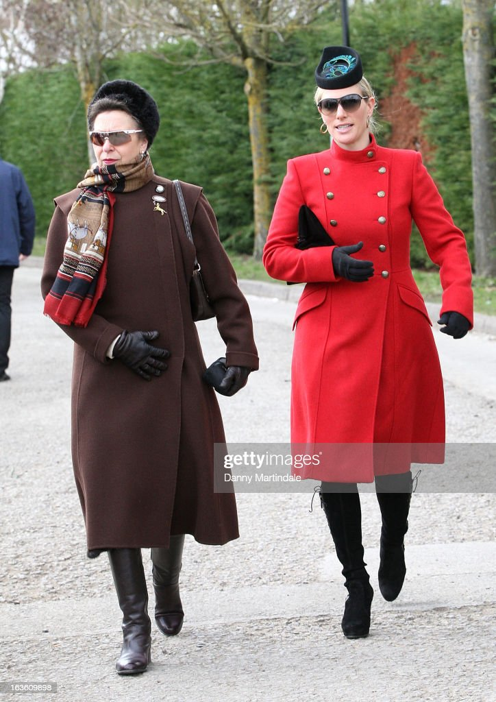 Princess Anne, The Princess Royal (L) and daughter Zara Phillips attends day 2 of the Cheltenham Festival at Cheltenham Racecourse on March 13, 2013 in Cheltenham, England.