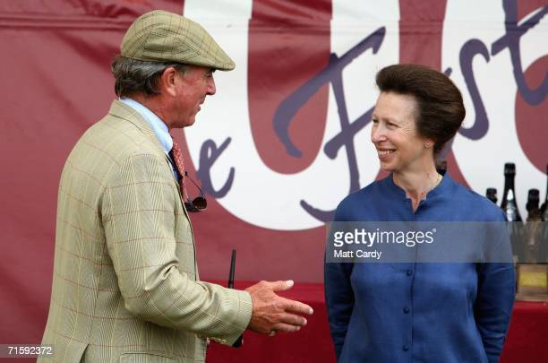 Princess Anne the Princess Royal and her exhusband Mark Phillips attend the second day of the Gatcombe Horse Trials at the Gatcombe Estate on August...