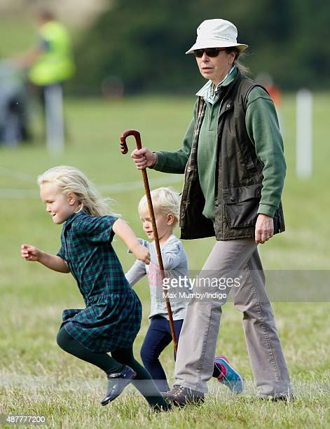 Princess Anne The Princess Royal and her grandchildren Savannah Phillips and Isla Phillips attend the Whatley Manor International Horse Trials at...