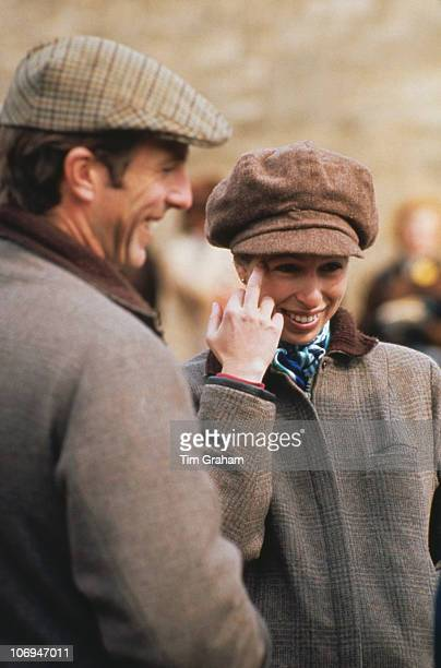 Princess Anne the Princess Royal and her husband Mark Phillips at the Badminton Horse Trials in Gloucestershire circa 1980