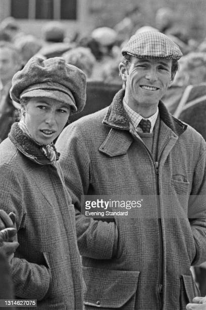 Princess Anne, the Princess Royal, and her husband Mark Phillips, at the Badminton Horse Trials, UK, 15th April 1974.