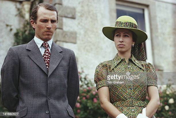 Princess Anne, the Princess Royal and her husband Mark Phillips attend a garden fete at Great Somerford, Wiltshire, 21st June 1975.