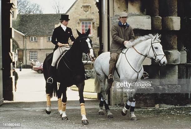 Princess Anne, the Princess Royal, and her husband Mark Phillips leave Badminton House stables during the Badminton Horse Trials in Gloucestershire,...