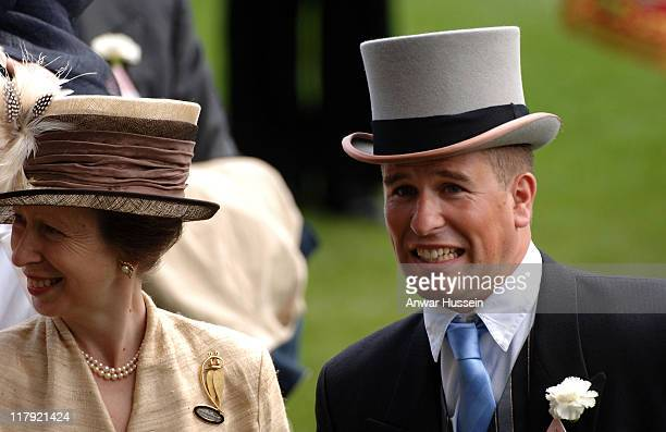 Princess Anne, the Princess Royal and her son Peter Phillips attend the first day of Royal Ascot on June 20, 2006.