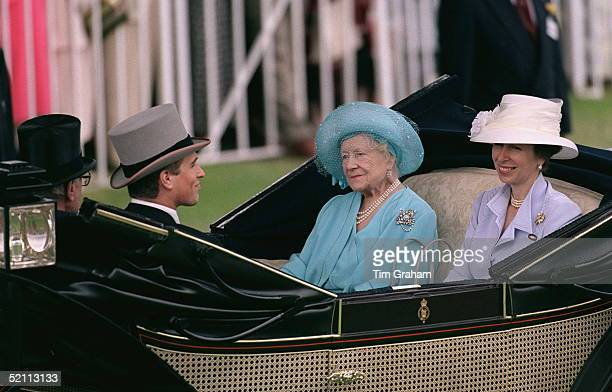 Princess Anne [the Princess Royal] And Her Son Peter Phillips With The Queen Motherat Ascot Races.