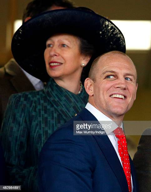 Princess Anne The Princess Royal and Mike Tindall watch Mike Tindall's horse Monbeg Dude run in the Crabbie's Grand National horse race at Aintree...