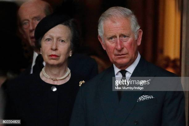 Princess Anne, The Princess Royal and Prince Charles, Prince of Wales attend the funeral of Patricia Knatchbull, Countess Mountbatten of Burma at St...