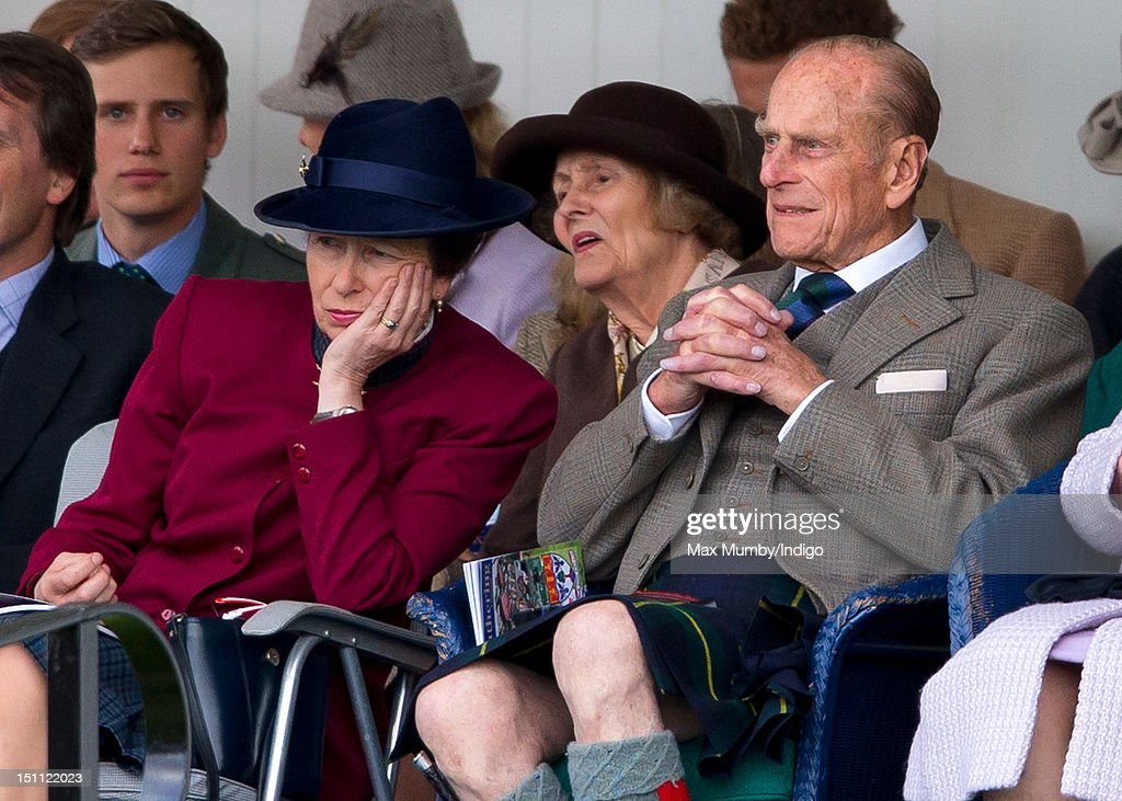 Princess Anne, The Princess Royal and Prince Philip, Duke of Edinburgh attend the 2012 Braemar Highland Gathering at The Princess Royal & Duke of Fife Memorial Park on September 1, 2012 in Braemar, Scotland.