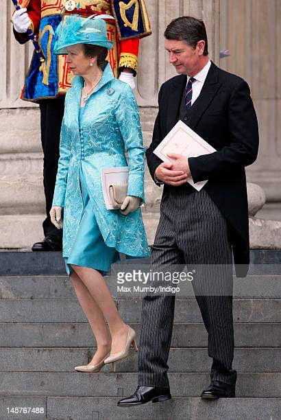 Princess Anne, The Princess Royal and Timothy Laurence attend a Service of Thanksgiving to celebrate Queen Elizabeth II's Diamond Jubilee at St...