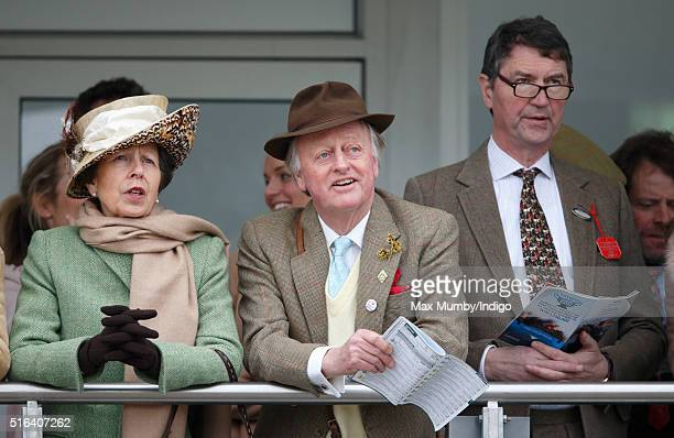 Princess Anne The Princess Royal Andrew Parker Bowles and Sir Timothy Laurence watch the racing as they attend day 4 Gold Cup Day of the Cheltenham...