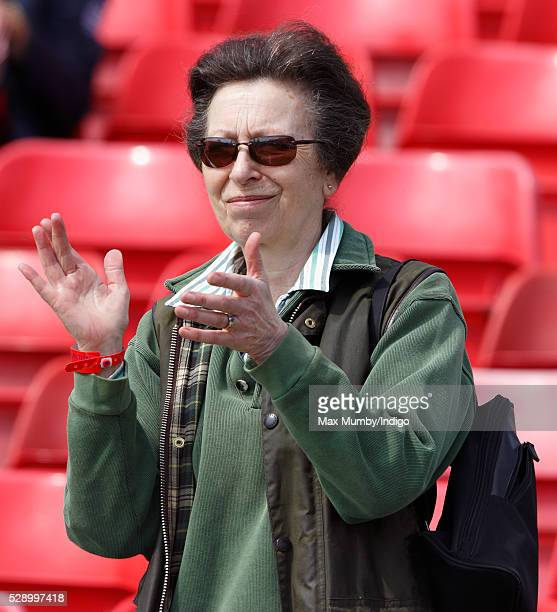 Princess Anne The Princess Royal applauds as she watches the cross country phase of the Badminton Horse Trials on May 7 2016 in Badminton England