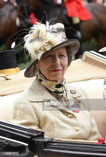 Princess Anne, The Princess Royal arrives in an open carriage to attend day one of Royal Ascot on June 18, 2019 in Ascot, England.