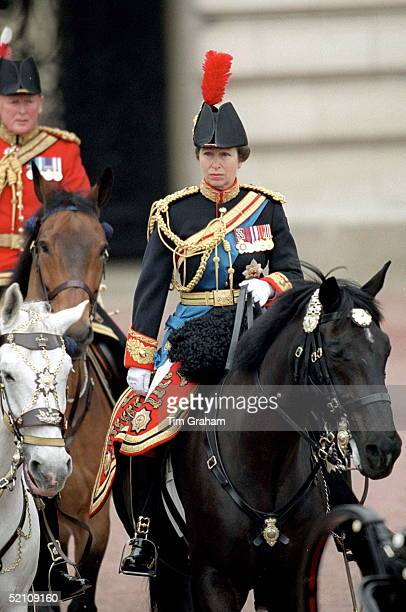 Princess Anne [ The Princess Royal ] As Colonel Of The Blues And Royals On Horseback At Trooping The Colour For The First Time
