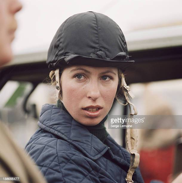 Princess Anne, the Princess Royal, at an equestrian event, circa 1980.