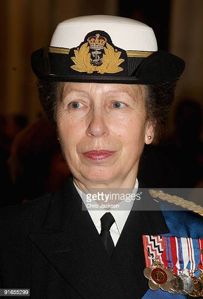 Princess Anne, the Princess Royal attends a reception at London Guildhall after a Service of Commemoration to mark the end of combat operations in...