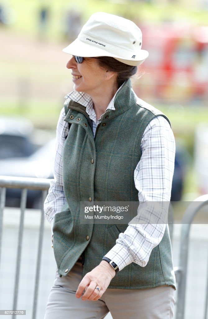 Princess Anne, The Princess Royal attends day 3 of the Festival of British Eventing at Gatcombe Park on August 6, 2017 in Stroud, England.