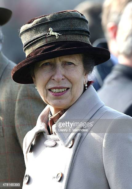 Princess Anne The Princess Royal attends Ladies Day day 2 of The Cheltenham Festival at Cheltenham Racecourse on March 12 2014 in Cheltenham England