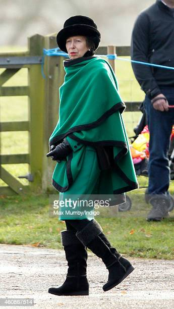 Princess Anne The Princess Royal attends Sunday service at St Mary Magdalene Church Sandringham on December 28 2014 in King's Lynn England