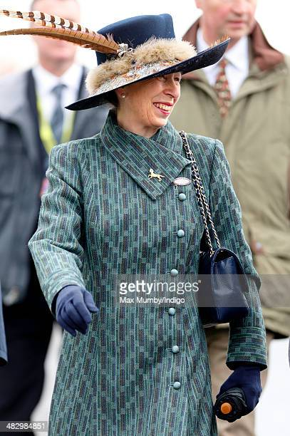 Princess Anne The Princess Royal attends the Crabbie's Grand National horse racing meet at Aintree Racecourse on April 5 2014 in Liverpool England