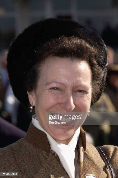 Princess Anne the Princess Royal attends the fourth day of the Cheltenham Festival at Cheltenham Racecourse on March 18 2005 in Cheltenham England