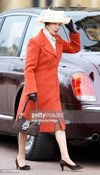 Princess Anne The Princess Royal attends the traditional Easter Sunday church service at St George's Chapel Windsor Castle on March 27 2016 in...
