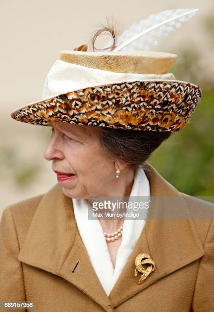 Princess Anne, The Princess Royal attends the traditional Easter Sunday church service at St George's Chapel, Windsor Castle on April 16, 2017 in...