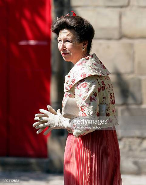 Princess Anne The Princess Royal attends the wedding of Zara Phillips and Mike Tindall at Canongate Kirk on July 30 2011 in Edinburgh Scotland The...