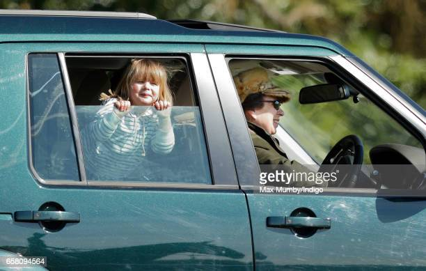 Princess Anne The Princess Royal drives granddaughter Mia Tindall around the Gatcombe Horse Trials at Gatcombe Park on March 26 2017 in Stroud England