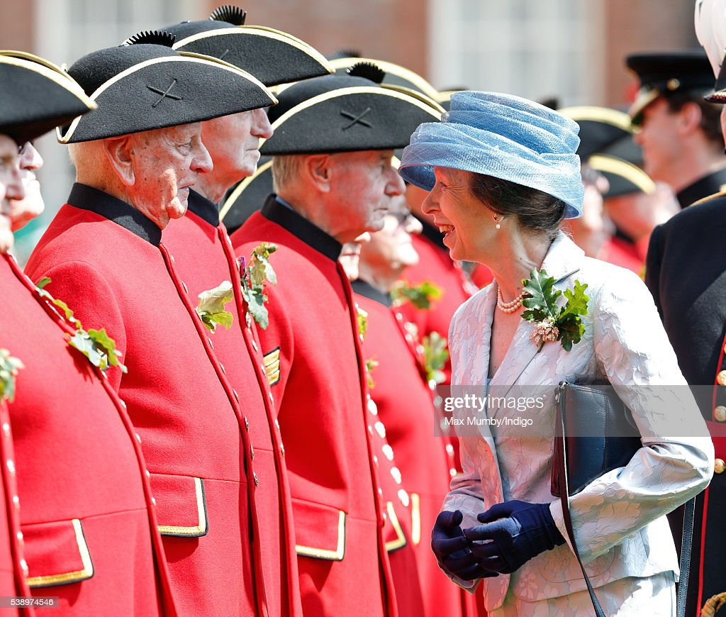 Princess Anne, The Princess Royal inspects Chelsea Pensioners during the annual Founder's Day Parade at The Royal Hospital Chelsea on June 9, 2016 in London, England.
