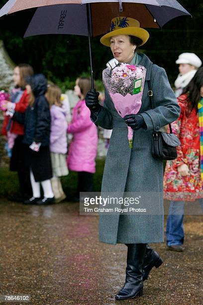 Princess Anne the Princess Royal joins other members of the Royal Family for Christmas Day service at Sandringham Church on December 25 2007 in...