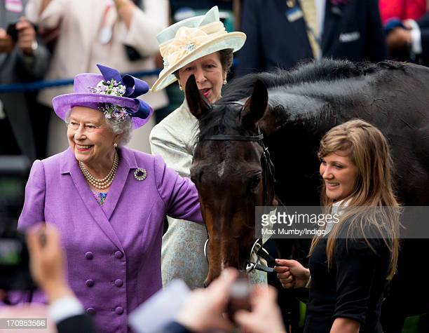 Princess Anne The Princess Royal looks on as Queen Elizabeth II pats her Gold Cup winning horse Estimate on Ladies Day of Royal Ascot at Ascot...