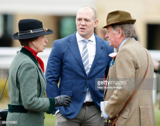 Princess Anne The Princess Royal Mike Tindall and Andrew Parker Bowles attend day 3 of the Cheltenham Festival at Cheltenham Racecourse on March 16...