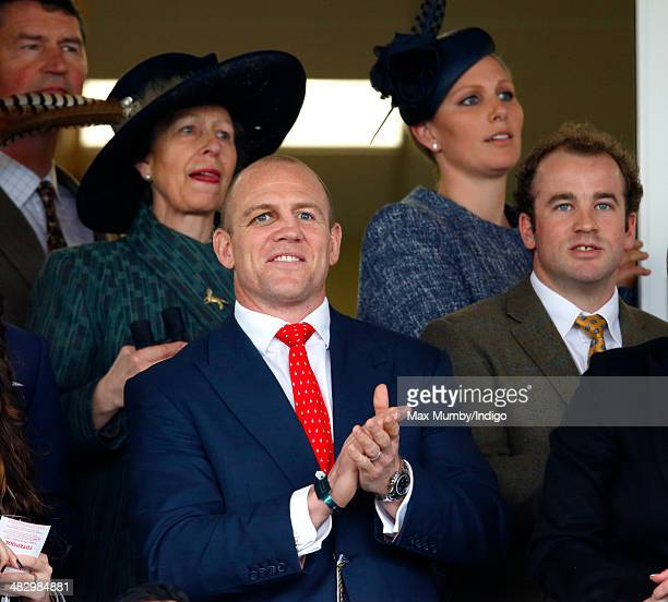 Princess Anne The Princess Royal Mike Tindall Zara Phillips and James SimpsonDaniel watch Mike Tindall's horse Monbeg Dude run in the Crabbie's Grand...