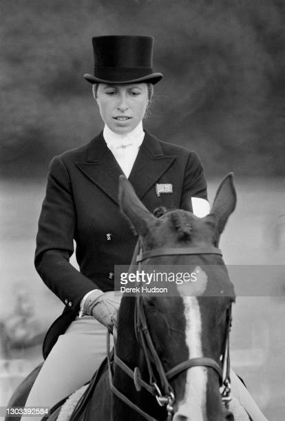 Princess Anne the Princess Royal pictured astride her horse during the dressage competition at the annual three day Burghley Horse Trials event held...